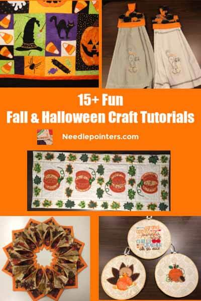 15+ Fall and Halloween Crafts Machine Embroidery pin