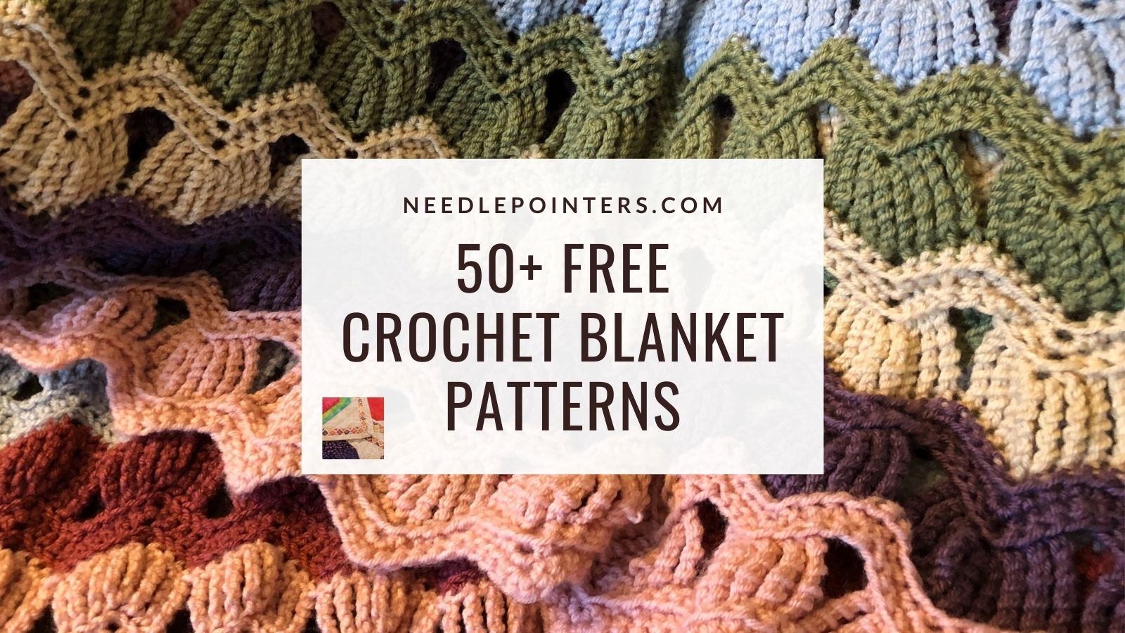 Unique Fall Colored Croched Lap Blanket With Tassels