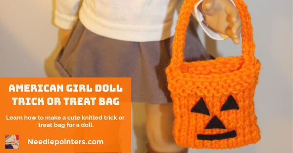 American Girl Doll Knitted Trick or Treat Bag - fb
