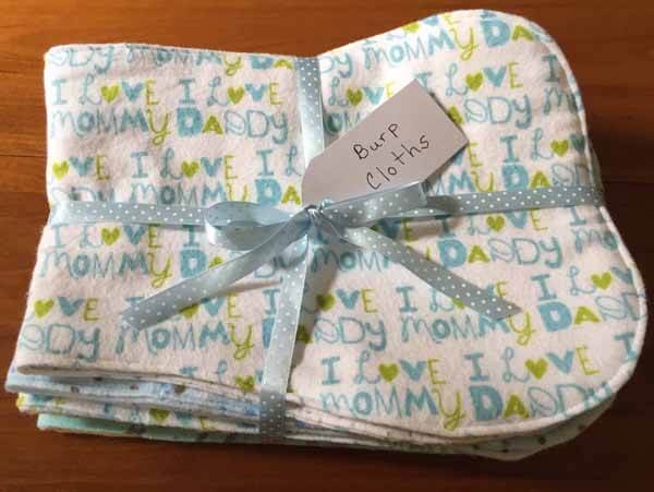 Baby Burp Cloth Tutorial Finished Folded Packaged