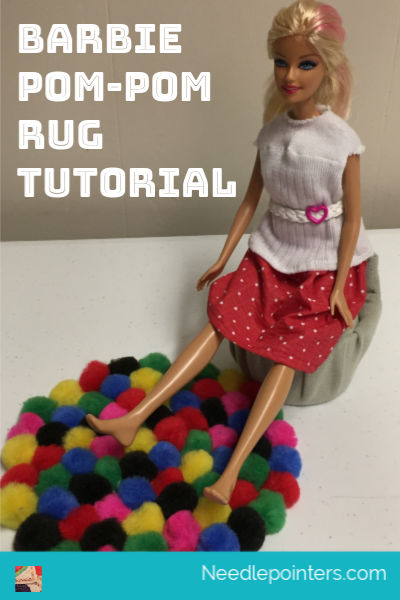 Barbie Pom-Pom Rug Tutorial - pin