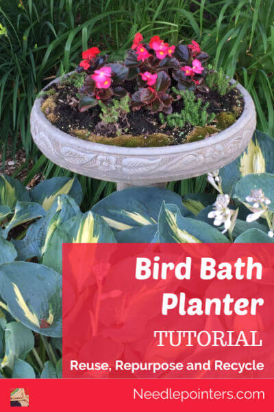 Bird Bath Planter Tutorial - pin