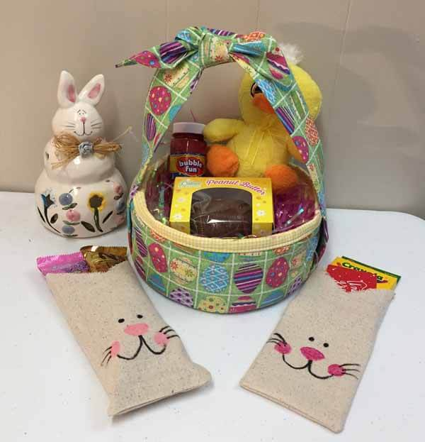 Fabric Bag Bunny Treat Bag Tutorial - Finished with Basket