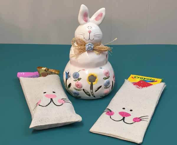 Fabric Bag Bunny Treat Bag Tutorial - Finished with Candy Jar