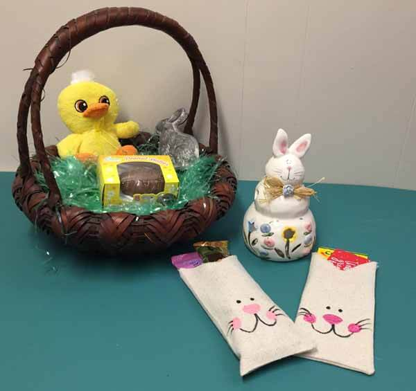 Fabric Bag Bunny Treat Bag Tutorial - Finished with Wicker Basket