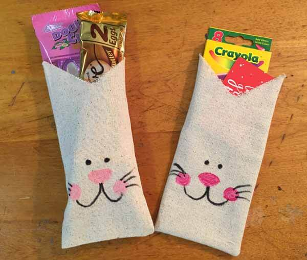 Fabric Bag Bunny Treat Bag Tutorial - Finished Bags