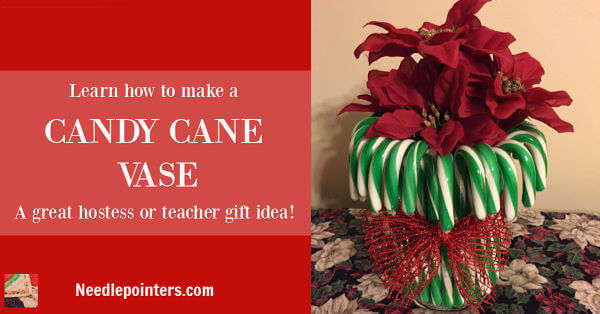 Candy Cane Vase (Dollar Store Craft)