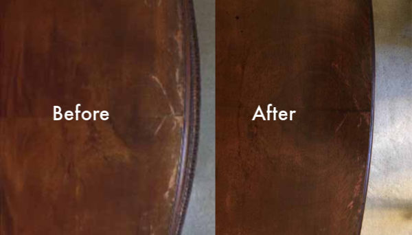 Conceal Furniture Scratches with Coffee Grounds - Before & After
