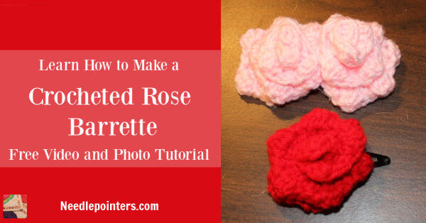 Crocheted Rose Barrette