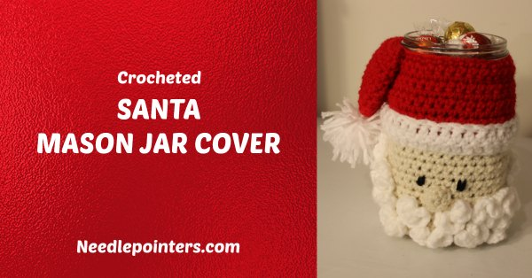 Crochet Santa Mason Jar Cover