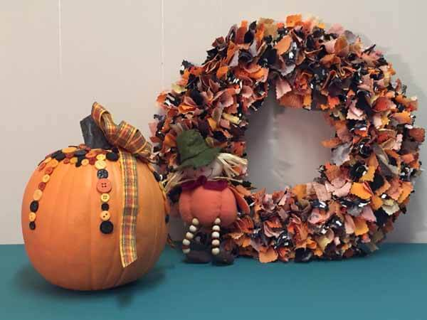 Cute as a Button Pumpkin - Completed with Wreath
