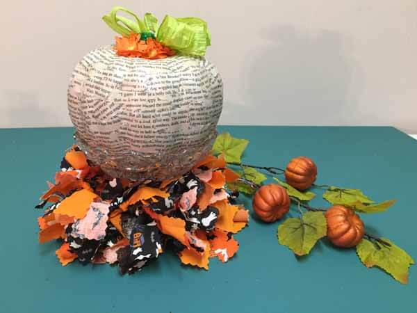 Decoupage Book Page Pumpkin