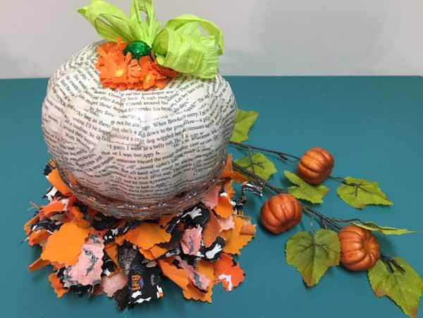 Decoupage Book Pumpkin - Finished Display 2