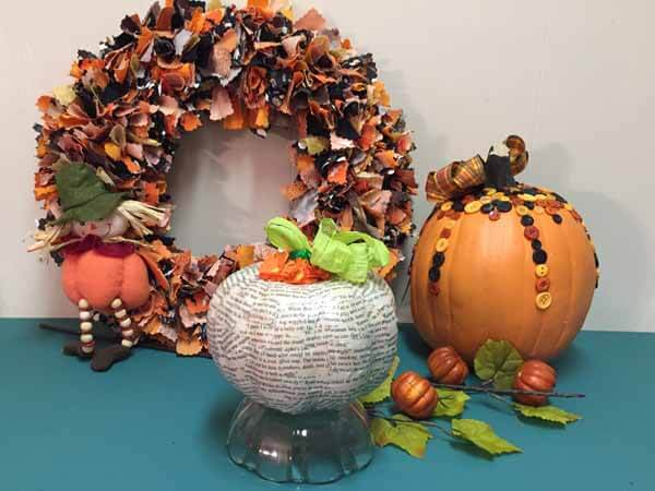 Decoupage Book Pumpkin - Finished with Wreath and Button Pumpkin