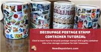 Decoupage Postage Stamp Container