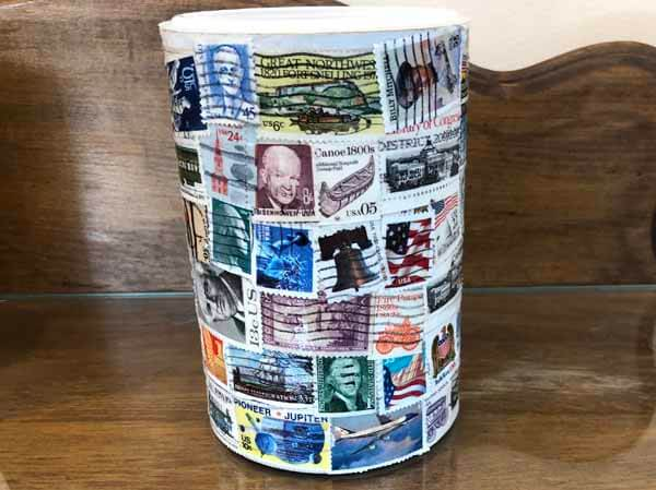 Postage Stamp Decoupage Container - Finished Closeup