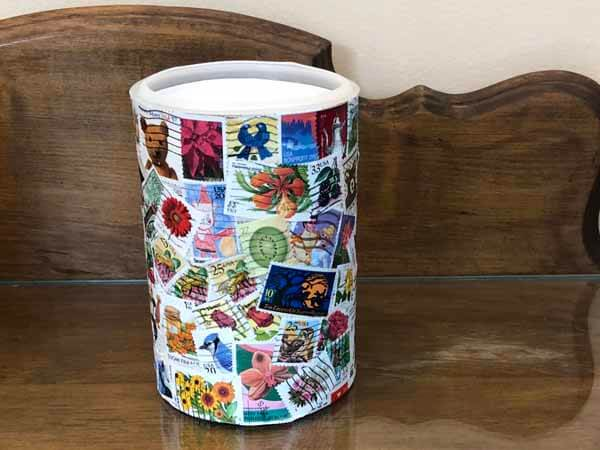 Postage Stamp Decoupage Container - Stamps Placed Randomly