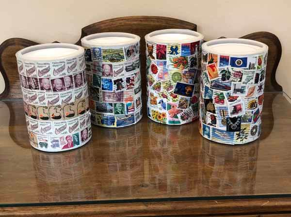 Postage Stamp Decoupage Container - Finished