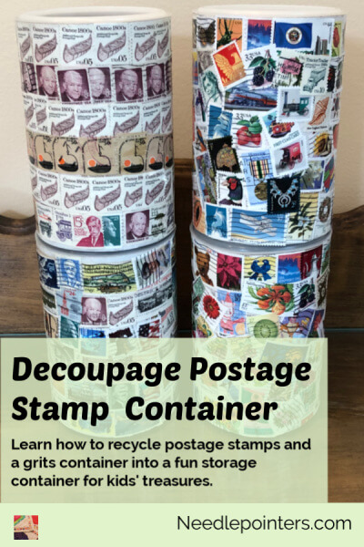 Decoupage Postage Stamp Container Tutorial - pin