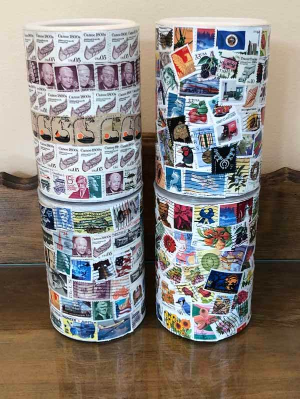 Decoupage Postage Stamp Container Tutorial - Stacked