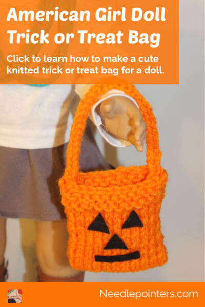 American Girl Doll Knitted Trick or Treat Bag - pin