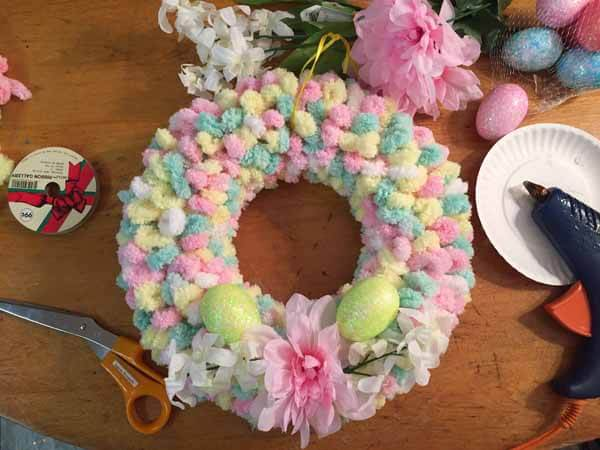 Easter Loop Yarn Tutorial Add Flowers and Eggs