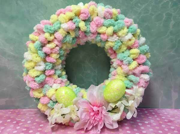 Easter Loop Yarn Wreath Tutorial Completed