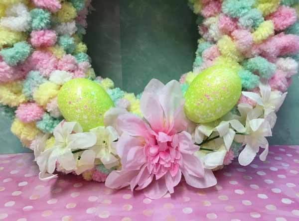 Easter Loop Yarn Wreath Tutorial Completed Close Up