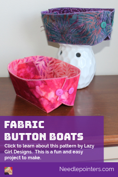 Lazy Girl Designs - Fabric Button Boats pin