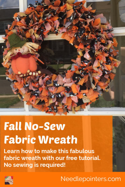 Halloween or Fall No Sew Fabric Wreath - pin new