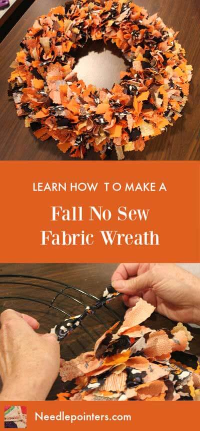 Halloween or Fall No Sew Fabric Wreath - pin