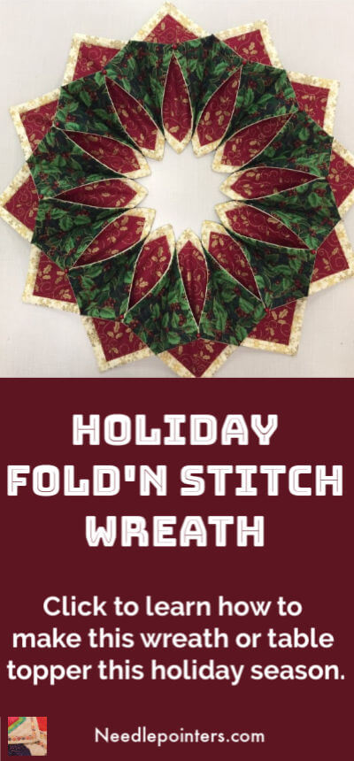 Holiday Fold'n Stitch Wreath - 2019 pin