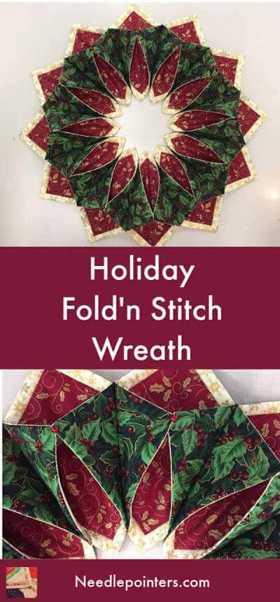 Holiday Fold'n Stitch Wreath - pin