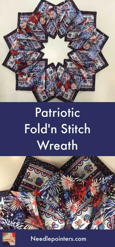 Patriotic Fold'n Stitch Wreath - pin
