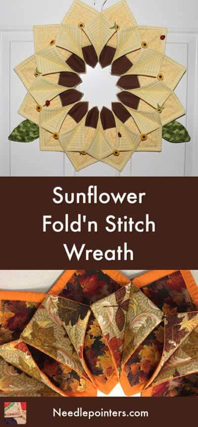 Sunflower Fold'n Stitch Wreath - pin