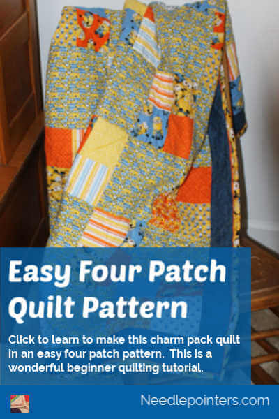 Easy Four Patch Quilt Pattern Tutorial - pin