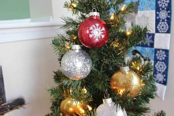 Glitter Ornament Tutorial - Ornaments on Tree