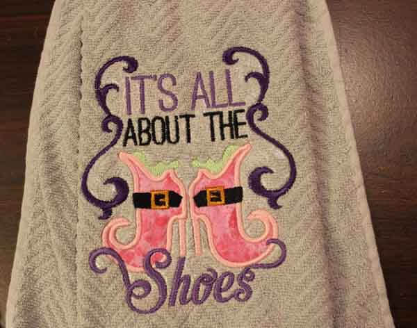 Halloween Machine Embroidered Towels- It's all about the shoes closeup
