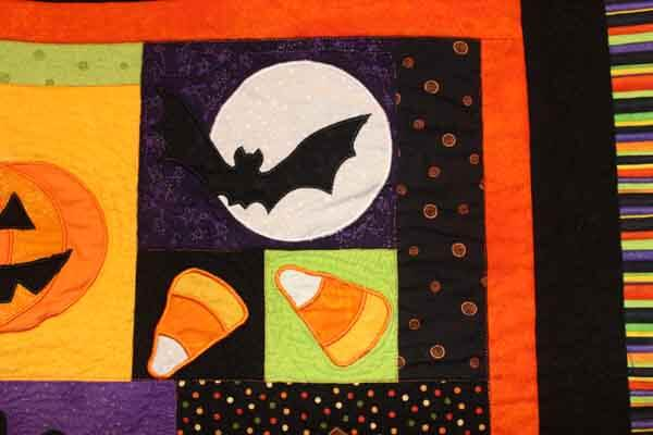 Halloween Fun Wall Hanging - Machine Embroidered Quilt Closeup 1