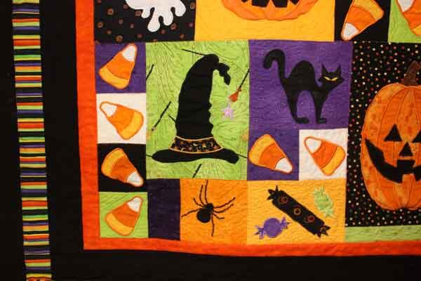 Halloween Fun Wall Hanging - Machine Embroidered Quilt Closeup 3