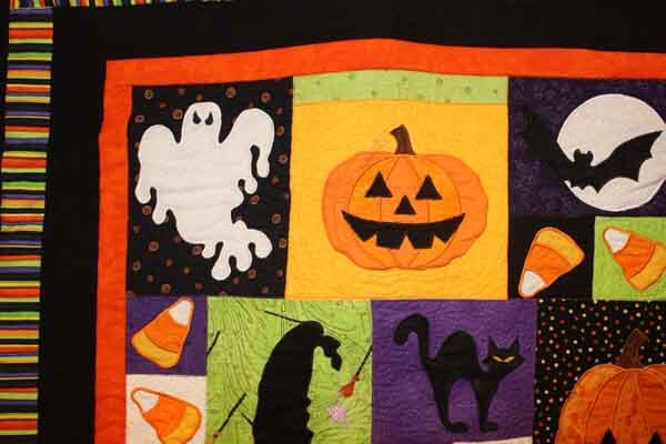 Halloween Fun Wall Hanging - Machine Embroidered Quilt Closeup 4