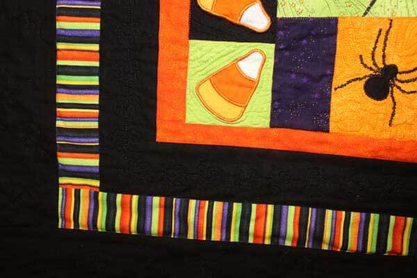 Halloween Fun Wall Hanging - Machine Embroidered Quilt Closeup 5
