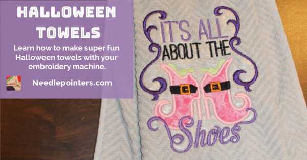 Halloween Machine Embroidered Towels - facebook