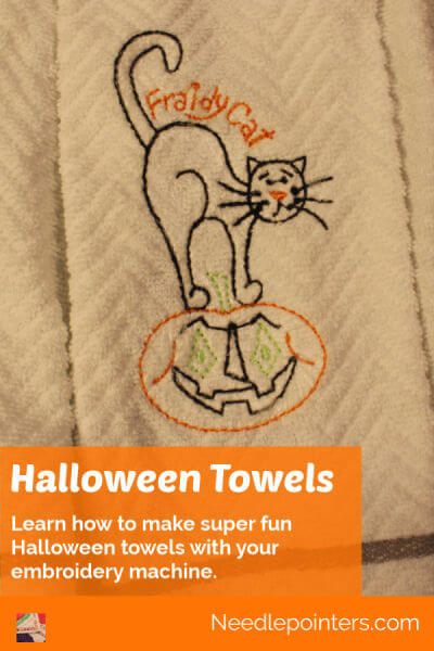 Halloween Towels Machine Embroidered Topper - pin 2