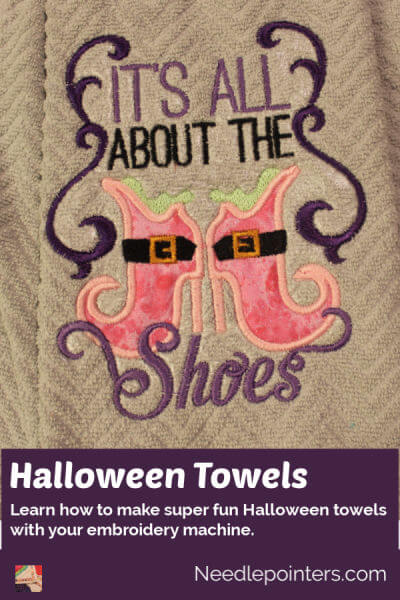 Halloween Towels Machine Embroidered Topper - pin 3