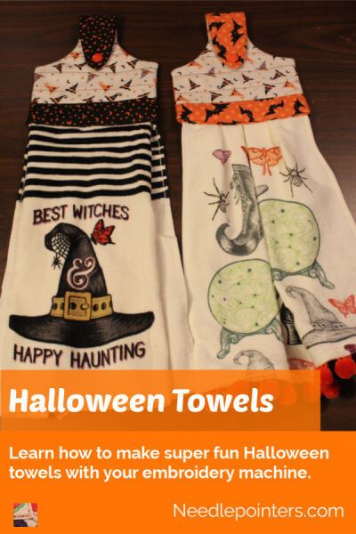 Halloween Towels Machine Embroidered Topper - pin 1