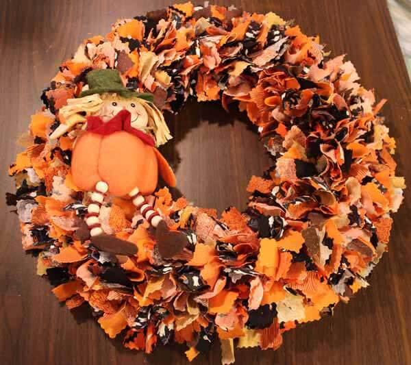 Fall No Sew Fabric Wreath - Add decorations.