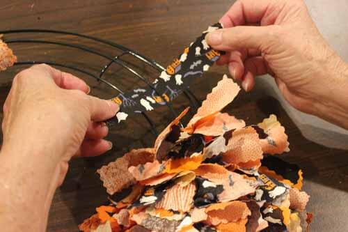 Fall No Sew Fabric Wreath - Tying Strips