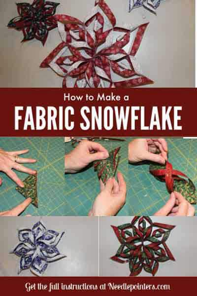 Learn how to make a no sew Fabric Snowflake