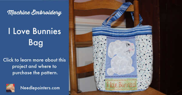 Sweet Pea Machine Embroidery Designs - I Love Bunnies Bag Project - FB Ad